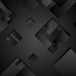 Abstract black squares tech background