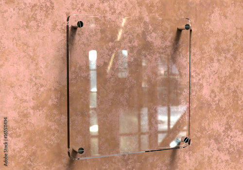 Blank Transparent Glass Interior Office Corporate Signage Plate Mock - Office name plate template