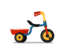 Little Children Tricycle Icon. Pedal Bike For Boy Or Girl, Kids Toy Isolated Vector Illustration In Flat Design.