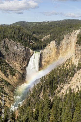 yellowstone-upper-falls-rainbow-i-blue-sky
