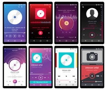 Music Player Interface On Mobile Phone Vector Illustration