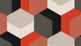 Geometryczna siatka w stylu lat 50. bez szwu w kolorze pomarańczowym i czarnym - 165520027
