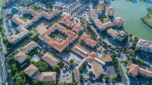 Tuinposter Luchtfoto Aerial view of modern residential district and houses from above, real estate concept