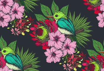 Fototapeta Do Spa Vector seamless pattern with compositions of hand drawn tropical flowers and exotic birds