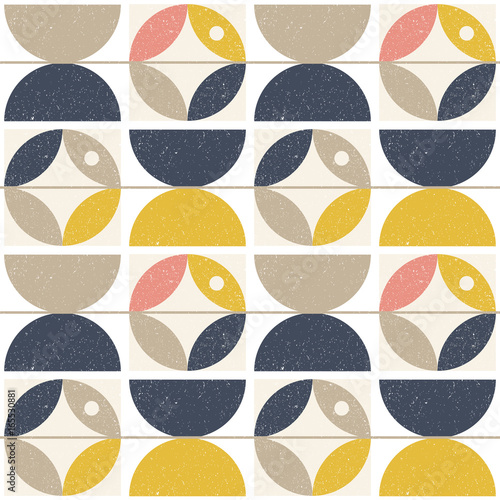 Modern vector abstract seamless geometric pattern with semi circles and circles Obraz na płótnie