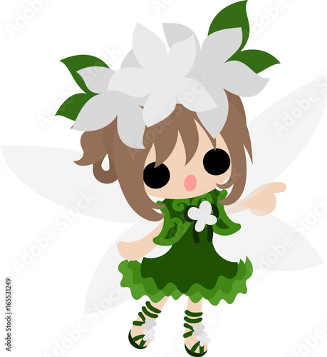 In de dag Indiërs The illustration of white flowers and a cute fairy