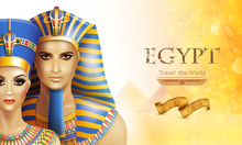 Background With Queen Nefertiti And Pharaoh Tutankhamen.