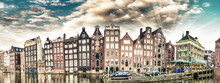Dutch Scenery With Its Canal Side Houses. Amsterdam Panoramic Skyline