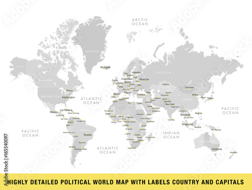 Fototapeta Highly detailed political world map with capitals