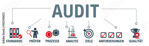 Fotografía Banner Audit - Qualitätsmanagement - Vector Illustration mit icons
