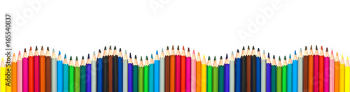 Wave of colorful wooden pencils isolated on white background, panoramic backgrou Canvas Print