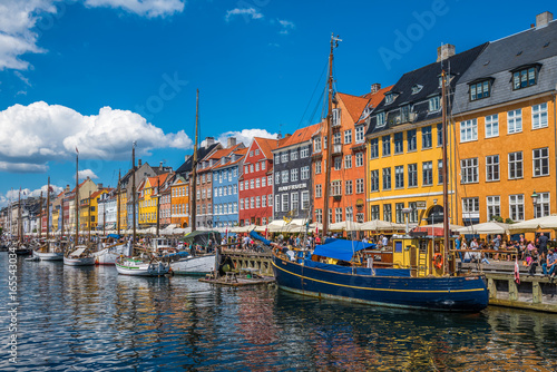 Nyhavn district is one of the most famous landmarks in Copenhagen, Denmark Canvas Print