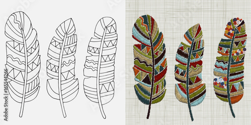 Deurstickers Boho Stijl Embroidery Designs. Feathers. Colorful hoop art. Boho, crafts, hand embroidery patterns. Linen cloth texture. Vector.