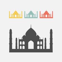 Taj Mahal Silhouette Icon.