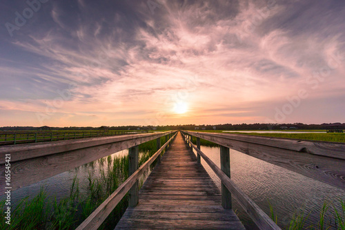 Carta da parati boardwalk leading into the marsh of the Atlantic Ocean coast during a beautiful