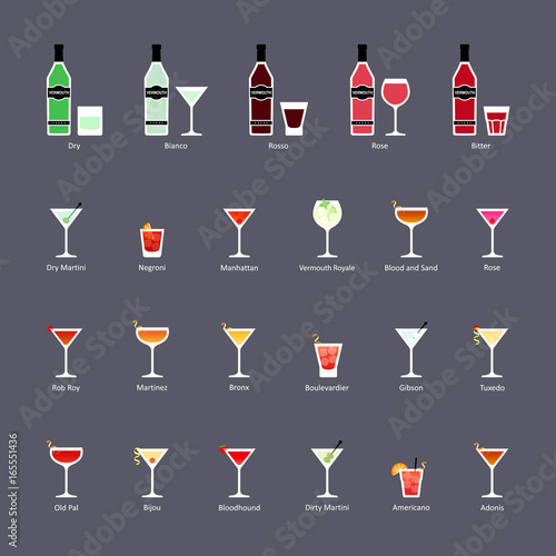 Fototapeta Types of vermouth and cocktails with vermouth, set of flat icons obraz na płótnie
