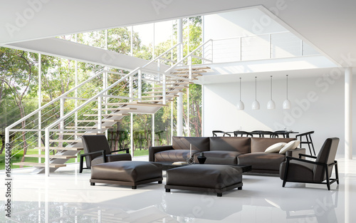 Modern White Living Room And Dining Room 3d Rendering Image.The Room Has A  High