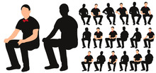Vector, Isolated Silhouette Of Man Sitting, With Bow Tie, Collection Of Sitting Men