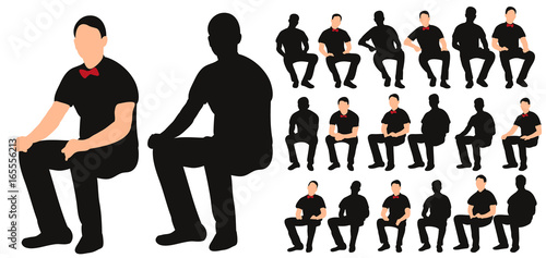 Fototapeta Vector, isolated silhouette of man sitting, with bow tie, collection of sitting men obraz