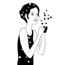 Vector Black White Contour Simple Illustration Of  Girl With Cup In The Hand