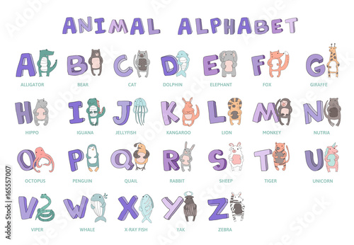 Hand drawn alphabet font letters doodle abc for kids with cute hand drawn alphabet font letters doodle abc for kids with cute animal thecheapjerseys Images