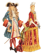 Louis XIV Of France And French Noblewoman (1680-1700) - Vintage Illustration