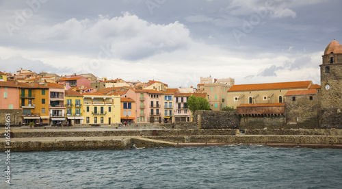 Spoed Foto op Canvas Mediterraans Europa Colors french town and castle Collioure