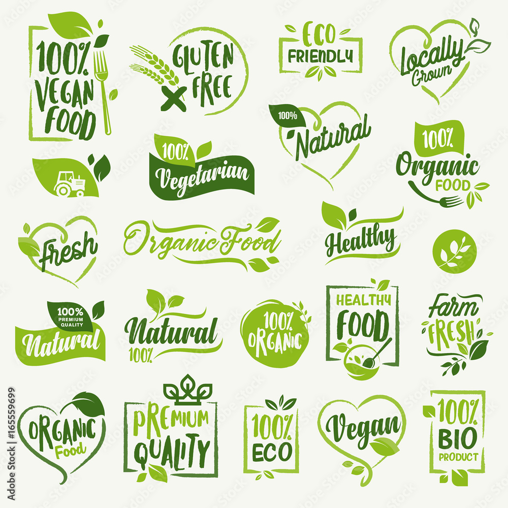 Fototapety, obrazy: Organic food, farm fresh and natural product stickers and badges collection for food market, ecommerce, organic products promotion, healthy life and premium quality food and drink.