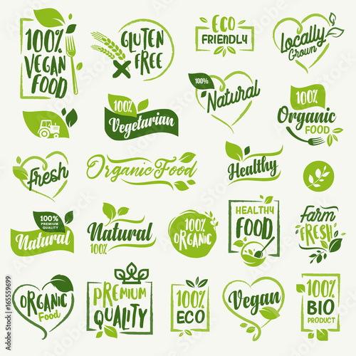 Fotografía  Organic food, farm fresh and natural product stickers and badges collection for food market, ecommerce, organic products promotion, healthy life and premium quality food and drink