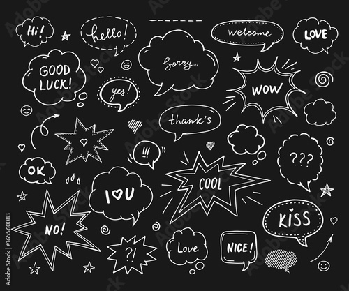 Hand drawn set of speech bubbles with dialog words: Hi, Love, Sorry, Welcome,