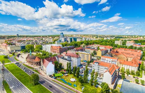 Obraz Krajobraz Szczecina z  trasa Zamkową i filharmonią - fototapety do salonu