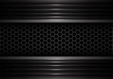 Abstract Dark Gray Hexagon Mesh In Metal Shutter Design Modern Futuristic Creative Background Texture Vector Illustration.