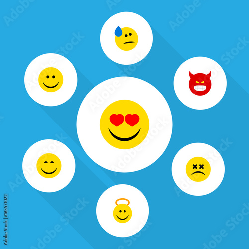 Flat Icon Face Set Of Cross-Eyed Face, Pouting, Smile And Other Vector Objects Poster