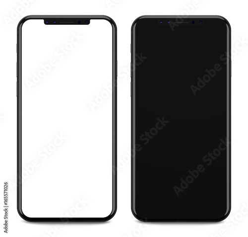 Black smartphones with blank screen, isolated on black background. Wall mural