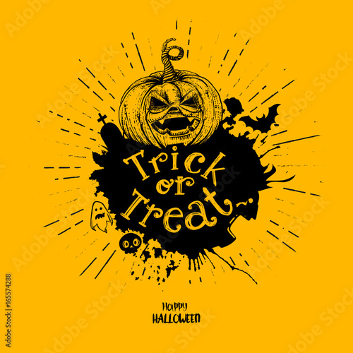 Deurstickers Halloween Trick or treat pumpkin with splash