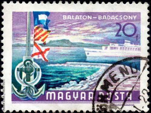 Fotografia  UKRAINE - CIRCA 2017: A postage stamp printed in Hungary shows Lake Balaton at B
