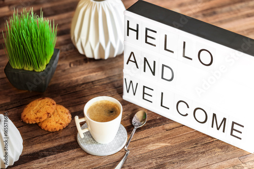 Fotomural light box message : Hello and welcome