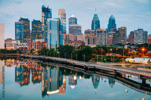 Spoed Fotobehang Centraal-Amerika Landen Philadelphia skyline at night