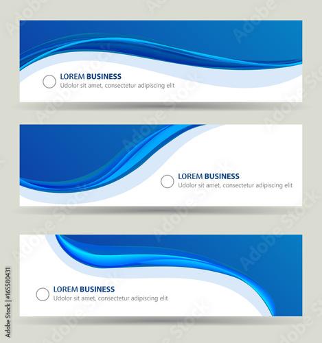 Fototapeta Business banner wave set, card brochure cover template obraz