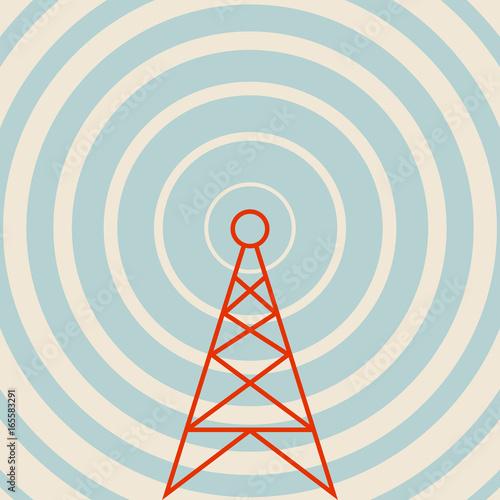 Transmitter vector icon, retro colors Fototapet