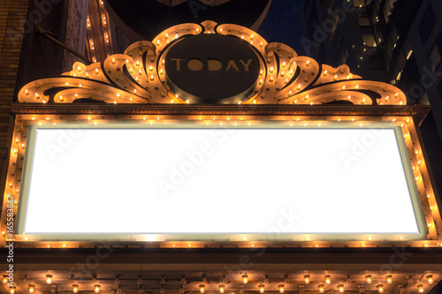 Foto auf AluDibond Oper / Theater Marquee Lights Blank Sign