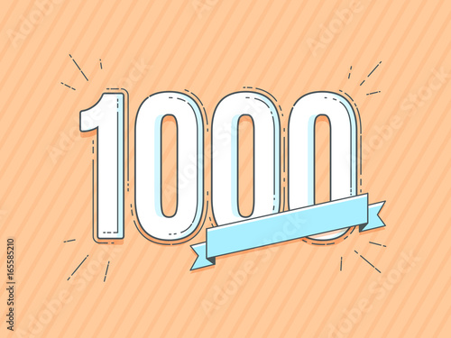 Canvastavla number 1000 with empty blank banner vector illustration