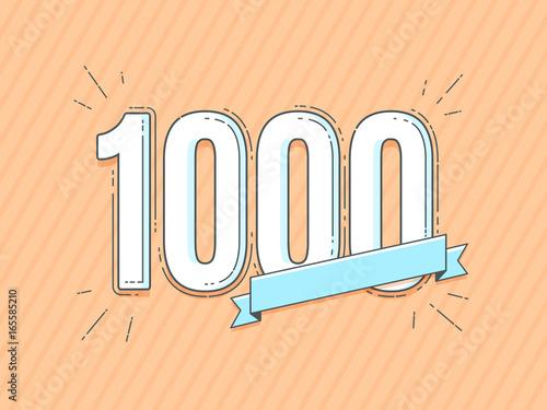 Fotografía  number 1000 with empty blank banner vector illustration