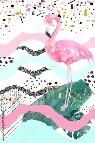 streszczenie-geometryczny-plakat-z-czerwonak-letni-tropikalny-design-recznie-rysowane-ilustracji
