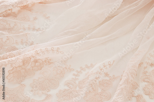 Fotografie, Obraz  Vintage tulle pink chiffon dress on wooden white table