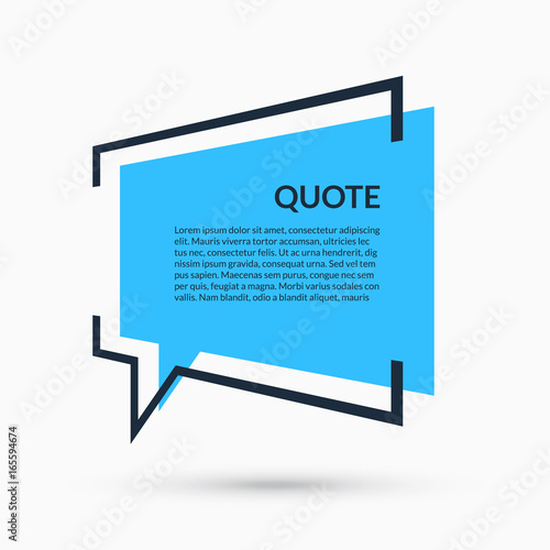 Fotografía  Quote speech bubble, blank template, text in brackets, citation empty frame, quo