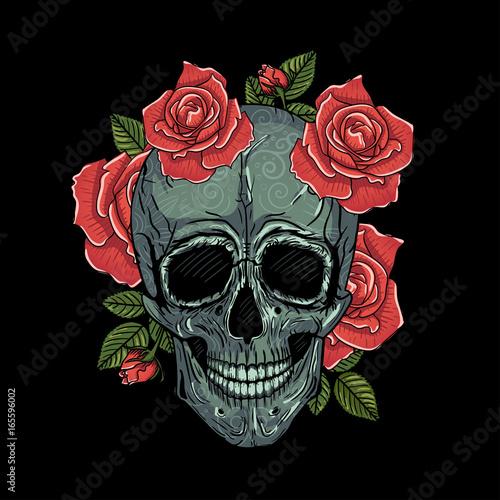 Printed kitchen splashbacks Watercolor skull Mexican skull vector illustration tattoo, hand drawn. T-shirt print. Colors
