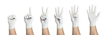 Right Hand Wearing Latex Surgical Glove With Gesture Number From Zero To Five From Left To Right On Wite Background
