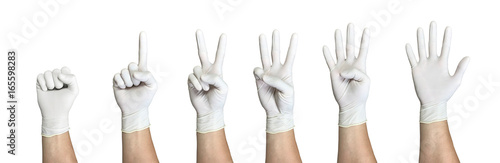 Fotografia, Obraz  Right hand wearing latex surgical glove with gesture number from zero to five fr