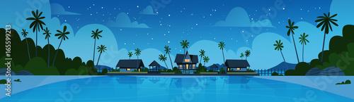 Fotografía  Sea Shore Beach With Villa Hotel Beautiful Seaside Landscape At Night Summer Vac